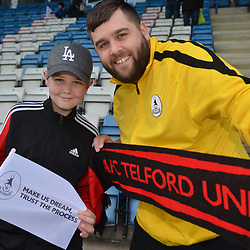 TELFORD COPYRIGHT MIKE SHERIDAN 23/3/2019 - Telford fans Jayden Porter(12) and Will Porter from Wellington during the FA Trophy Semi Final fixture between AFC Telford United and Leyton Orient at the New Bucks Head