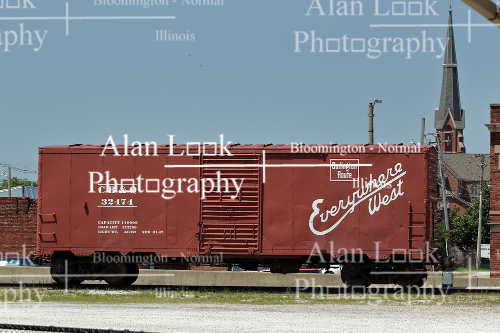 Galesburg - Amtrak Train Depot - box car on dislplay