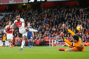 GOAL 2-0 Arsenal striker Alexandre Lacazette (9) scores Arsenal's second during the Premier League match between Arsenal and Fulham at the Emirates Stadium, London, England on 1 January 2019.