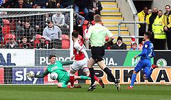 Conor O'Malley of Peterborough United makes a save to deny Anthony Forde of Rotherham United - Mandatory by-line: Joe Dent/JMP - 30/03/2018 - FOOTBALL - Aesseal New York Stadium - Rotherham, England - Rotherham United v Peterborough United - Sky Bet League One
