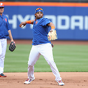 NEW YORK, NEW YORK - June 21: Yoenis Cespedes #52 of the New York Mets working out on the infield during practice before the Kansas City Royals Vs New York Mets regular season MLB game at Citi Field on June 21, 2016 in New York City. (Photo by Tim Clayton/Corbis via Getty Images)