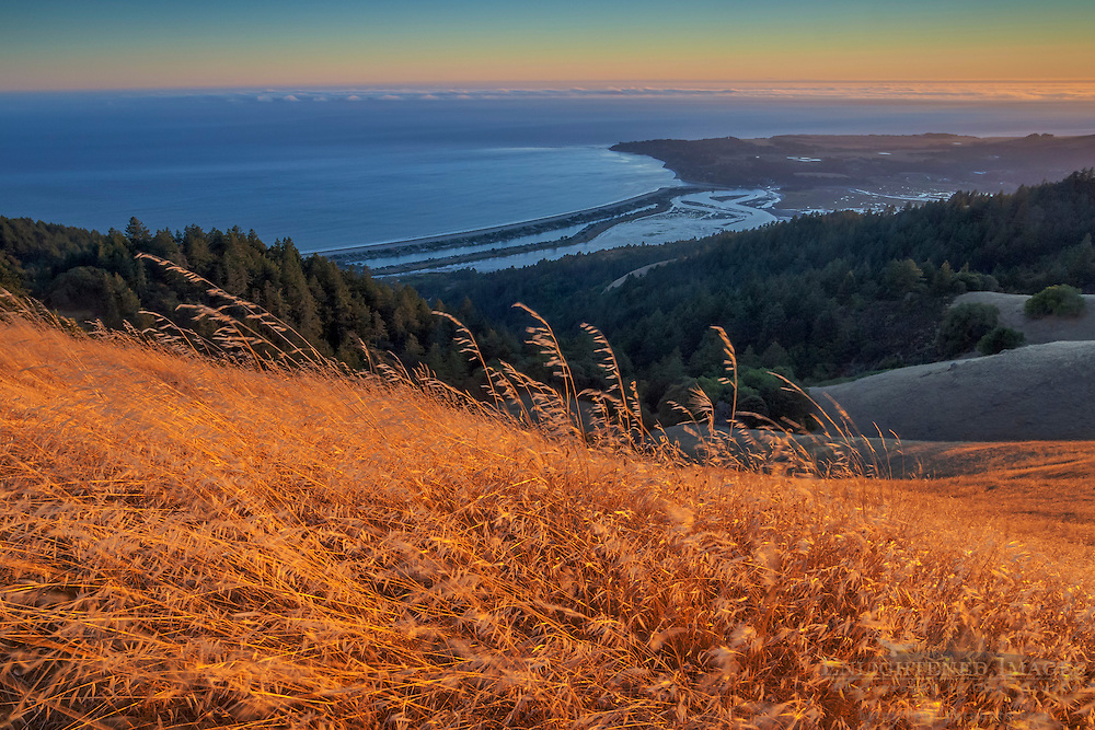 Looking out over the Pacific Ocean and Bolinas Lagoon from Bolinas Ridge, Mount Tamalpais State Park, Marin County, California