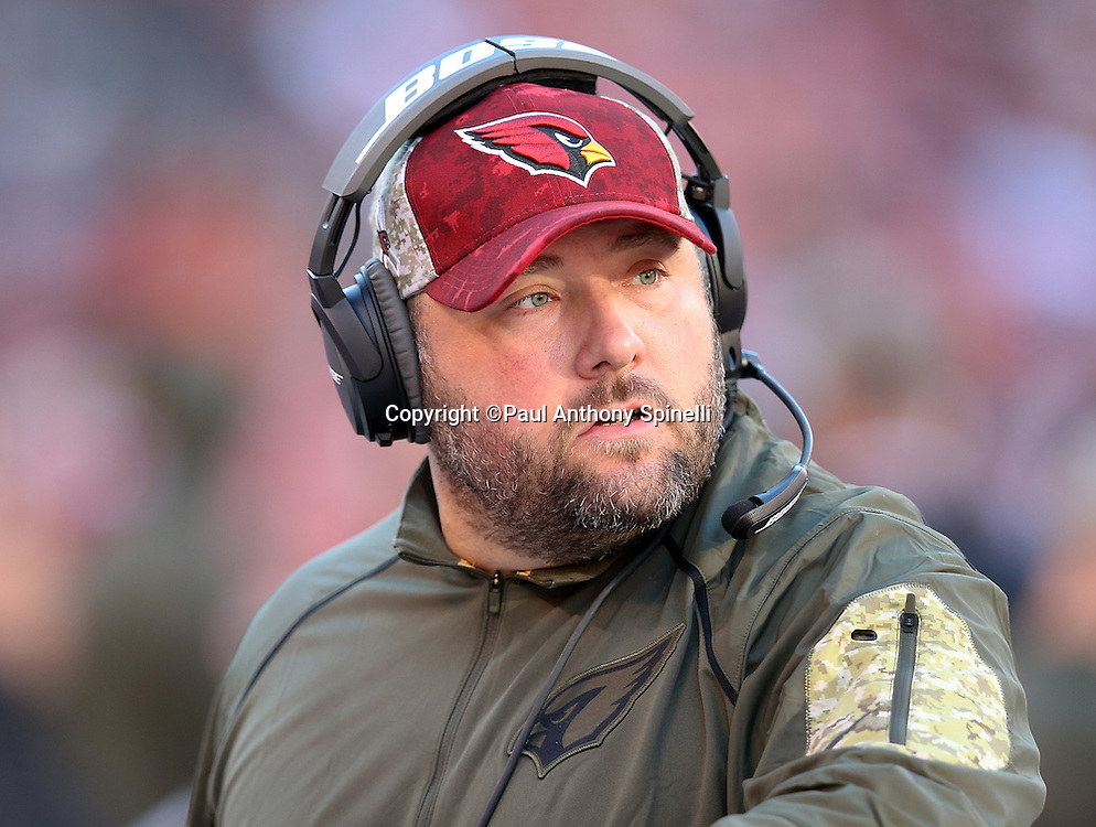 Arizona Cardinals defensive coordinator James Bettcher looks on from the sideline during the 2015 week 8 regular season NFL football game against the Cleveland Browns on Sunday, Nov. 1, 2015 in Cleveland. The Cardinals won the game 34-20. (©Paul Anthony Spinelli)