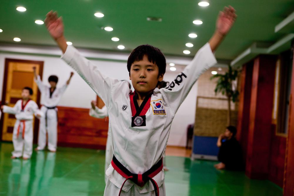 Daegu/South Korea, Republic Korea, KOR, 07.09.2010: Training at a Taekwondo school for children in Daegu. Taekwondo is a Korean martial art and the national sport of South Korea.