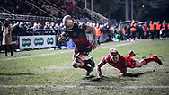 Dragons' Rynard Landman breaks free and dives over scores his sides second try of the game.<br /> <br /> Photographer Simon Latham/Replay Images<br /> <br /> Guinness PRO14 - Dragons v Edinburgh - Friday 23rd February 2018 - Eugene Cross Park - Ebbw Vale<br /> <br /> World Copyright © Replay Images . All rights reserved. info@replayimages.co.uk - http://replayimages.co.uk