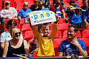 Shrewsbury Town fan with a sign before the EFL Sky Bet League 1 play-off final match between Rotherham United and Shrewsbury Town at Wembley Stadium, London, England on 27 May 2018. Picture by Nigel Cole.