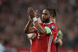 BUDAPEST, HUNGARY - Tuesday, June 11, 2019: Wales' captain Ashley Williams applauds the travelling supporters after the UEFA Euro 2020 Qualifying Group E match between Hungary and Wales at the Ferencváros Stadion. Hungary won 1-0. (Pic by David Rawcliffe/Propaganda)