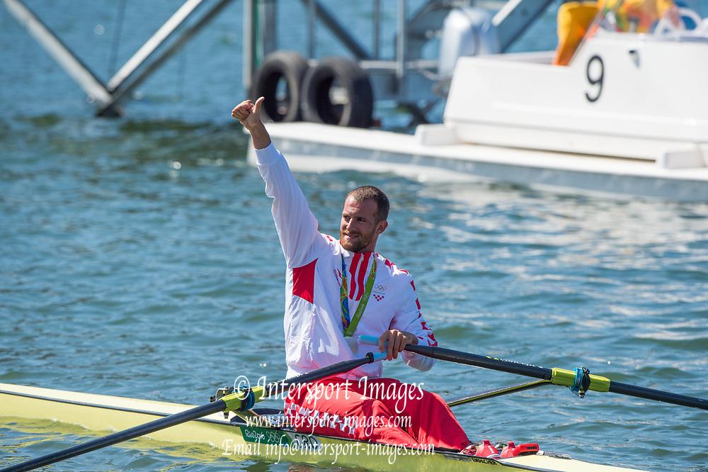 Rio de Janeiro. BRAZIL   CRO M1X Silver Medalist. Damir MARTIN.     2016 Olympic Rowing Regatta. Lagoa Stadium,<br /> Copacabana,  &ldquo;Olympic Summer Games&rdquo;<br /> Rodrigo de Freitas Lagoon, Lagoa. Local Time 11:34:04  Saturday  13/08/2016<br /> [Mandatory Credit; Peter SPURRIER/Intersport Images]