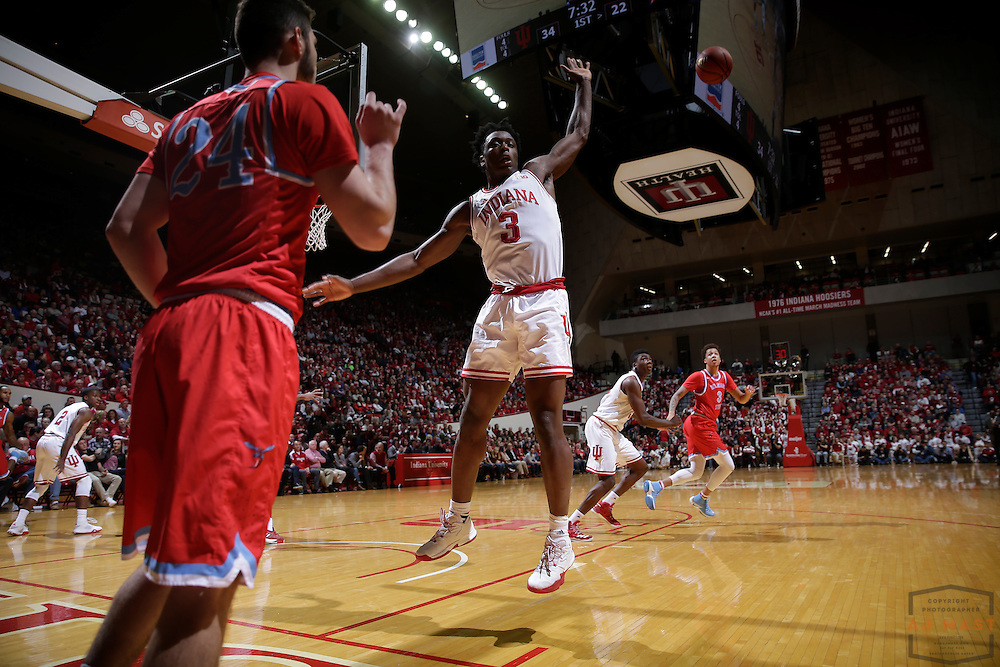 Indiana forward OG Anunoby (3) in action as Delaware State played Indiana in an NCCA college basketball game, in Indianapolis, Monday, Dec. 19, 2016. (AJ Mast)