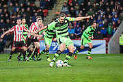 Forest Green Rovers Jonathan Parkin takes a penalty and misses during the Vanarama National League match between Cheltenham Town and Forest Green Rovers at Whaddon Road, Cheltenham, England on 21 November 2015. Photo by Shane Healey.