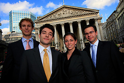 UK ENGLAND LONDON 2SEP08 - German students Katalin Siklosi, Markus Schneider (blue tie), Florian Pauthner (red tie) and Julian Giessing (yellow tie) from the disciplines of law, politics and economics visit financial institutions in the city of London. Photos taken at the Royal Exchange near the Bank of England in the city of London...jre/Photo by Jiri Rezac..© Jiri Rezac 2008..Contact: +44 (0) 7050 110 417.Mobile:  +44 (0) 7801 337 683.Office:  +44 (0) 20 8968 9635..Email:   jiri@jirirezac.com.Web:    www.jirirezac.com..© All images Jiri Rezac 2008 - All rights reserved.