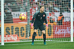 Wroclaw, Poland - 2016 November 14: Goalkeeper Wojciech Szczesny of Poland shouts during Poland v Slovenia - International Friendly Soccer Match at Municipal Stadium on November 14, 2016 in Wroclaw, Poland.<br /> <br /> Adam Nurkiewicz declares that he has no rights to the image of people at the photographs of his authorship.<br /> <br /> Picture also available in RAW (NEF) or TIFF format on special request.<br /> <br /> Any editorial, commercial or promotional use requires written permission from the author of image.<br /> <br /> Mandatory credit:<br /> Photo by © Adam Nurkiewicz / Mediasport