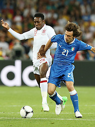 Daniel Welbeck (ENG) and Andrea Pirlo (ITA).during Italy V England Quarter-finals in the Euro 2012, Sunday June 24, 2012, in Kiev, Ukraine. Photo By Imago/i-Images