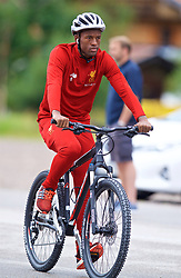 ROTTACH-EGERN, GERMANY - Friday, July 28, 2017: Liverpool's Georginio Wijnaldum cycles to a training session at FC Rottach-Egern on day three of the preseason training camp in Germany. (Pic by David Rawcliffe/Propaganda)