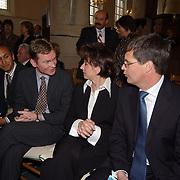 Mattheus Passion 2004 Naarden, Jan Peter Balkenende en vrouw Bianca Hoogendijk en burgemeester van Naarden Peter Rehwinkel met naast hem zijn vriend Michel Zeegelaar
