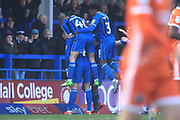 GOAL Jim McNulty celebrates scoring 2-0 during the EFL Sky Bet League 1 match between Rochdale and Shrewsbury Town at Spotland, Rochdale, England on 9 March 2019.