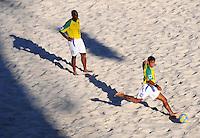 FIFA BEACH SOCCER WORLD CUP 2008 BRAZIL - SPAIN   18.07.2008 BENJAMIN (right) kicks a ball being watched by JUNIOR NEGAO (BRA).