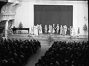 Vienna Boys Choir.   (P5)..1981..25.11.1981..11.25.1981..25th November 1981..The Vienna Boys Choir performed a concert at the Royal Dublin Showgrounds (RDS),Concert Hall,  Ballsbridge, Dublin, last night. A packed audience enjoyed the recital from the world renowned choir...Image shows the Choir, in period costume, performing to the audience in the RDS Concert Hall.