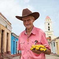 Elderly man selling bananas in Trinidad, Cuba.