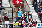Hearts FC Defender Callum Paterson and Hamilton Academical Defender Jesus Garcia Tena contest in the air during the Ladbrokes Scottish Premiership match between Heart of Midlothian and Hamilton Academical FC at Tynecastle Stadium, Gorgie, Scotland on 7 November 2015. Photo by Craig McAllister.