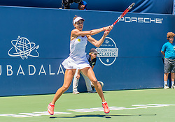 August 5, 2018 - San Jose, CA, U.S. - SAN JOSE, CA - AUGUST 05: Mihaela Buzarnescu (ROU) returns the ball during the WTA Singles Championship at the Mubadala Silicon Valley Classic  at the San Jose State University Stadium Court in San Jose, CA  on Sunday, August 5, 2018. (Photo by Douglas Stringer/Icon Sportswire) (Credit Image: © Douglas Stringer/Icon SMI via ZUMA Press)