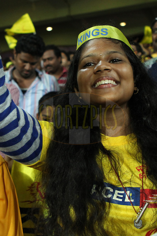 Fans during match 28 of the Pepsi IPL 2015 (Indian Premier League) between The Chennai Superkings and The Kolkata Knight Riders held at the M. A. Chidambaram Stadium, Chennai Stadium in Chennai, India on the 28th April 2015.<br /> <br /> Photo by:  Saikat Das / SPORTZPICS / IPL