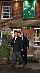 © Licensed to London News Pictures. 22/10/2015. Prime Minister David Cameron and Chinese President Xi Jinping leave the Plough pub near Princes Risborough, UK. Photo credit: Peter Macdiarmid/LNP