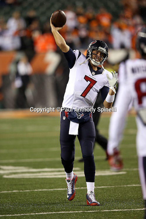 Houston Texans quarterback Brian Hoyer (7) smiles as he throws a pregame pass while warming up before the 2015 week 10 regular season NFL football game against the Cincinnati Bengals on Monday, Nov. 16, 2015 in Cincinnati. The Texans won the game 10-6. (©Paul Anthony Spinelli)