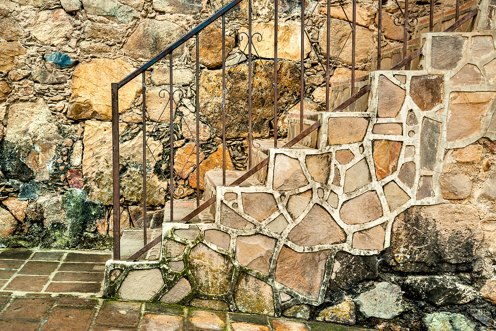 """Stairs and Wall"" - These old stone stairs and wall were photographed in the small mountain town of San Sebastian, Mexico."