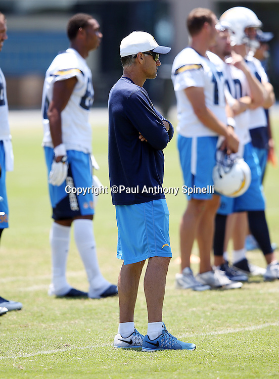 San Diego Chargers linebackers coach Mike Nolan looks on during the San Diego Chargers Spring 2015 NFL minicamp practice on Wednesday, June 17, 2015 in San Diego. (©Paul Anthony Spinelli)