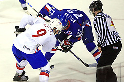 Marius Holtet of Norway vs Andrej Kollar of Slovakia at ice-hockey match Slovakia vs Norway at Preliminary Round (group C) of IIHF WC 2008 in Halifax, on May 03, 2008 in Metro Center, Halifax, Canada. (Photo by Vid Ponikvar / Sportal Images)