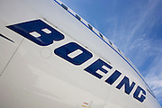 Company logo on side of the Boeing-manufactured 787 Dreamliner (N787BX) at the Farnborough Airshow.