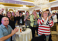 Garden City, New York, USA. 3rd November 2015. Democrats applaud election results coming in during Election Night Party of the Nassau County Democrats, at the Garden City Hotel.