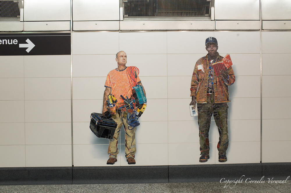 """One of the mosaïcs """"Perfect Strangers"""" by artist and photographer Vik Muniz at the 72nd street station of the new Second Avenue subway line in New York City."""
