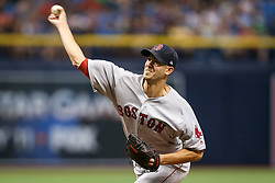 July 8, 2017 - St. Petersburg, Florida, U.S. - WILL VRAGOVIC   |   Times.Boston Red Sox starting pitcher Rick Porcello (22) throwing in the first inning of the game between the Boston Red Sox and the Tampa Bay Rays at Tropicana Field in St. Petersburg, Fla. on Saturday, July 8, 2017. (Credit Image: © Will Vragovic/Tampa Bay Times via ZUMA Wire)