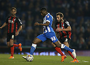 Mustapha Carayol, Brighton midfielder during the Sky Bet Championship match between Brighton and Hove Albion and Bournemouth at the American Express Community Stadium, Brighton and Hove, England on 10 April 2015.