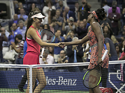 August 30, 2017 - Flushing Meadows, New York, U.S - Venus Williams shakes hands after winning her match on Day Three of the 2017 US Open with Oceane Dodin at the USTA Billie Jean King National Tennis Center on Wednesday August 30, 2017 in the Flushing neighborhood of the Queens borough of New York City. Williams defeated Dodin, 7-5, 6-4. (Credit Image: © Prensa Internacional via ZUMA Wire)