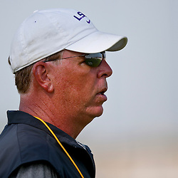 Aug 8, 2013; Baton Rouge, LA, USA; LSU Tigers offensive coordinator Cam Cameron during a fall practice at the McClendon Practice Facility. Mandatory Credit: Derick E. Hingle-USA TODAY Sports