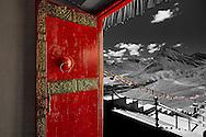 Kye Monastery Door and Himalayan Mountains, Spiti Valley, India