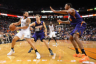 Nov 15, 2013; Phoenix, AZ, USA; Brooklyn Nets guard Deron Williams (8) handles the ball against the Phoenix Suns guard Goran Dragic (1) and forward Channing Frye (8) in the first half at US Airways Center. Mandatory Credit: Jennifer Stewart-USA TODAY Sports