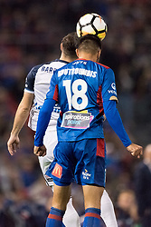May 5, 2018 - Newcastle, NSW, U.S. - SYDNEY, NSW - MAY 05: Newcastle Jets midfielder Johnny Koutroumbis (18) and Melbourne Victory forward Kosta Barbarouses (9) go up for the ball at the A-League Grand Final Soccer Match between Newcastle Jets and Melbourne Victory on May 5, 2018 at McDonald Jones Stadium in Newcastle, Australia. (Photo by Speed Media/Icon Sportswire) (Credit Image: © Speed Media/Icon SMI via ZUMA Press)