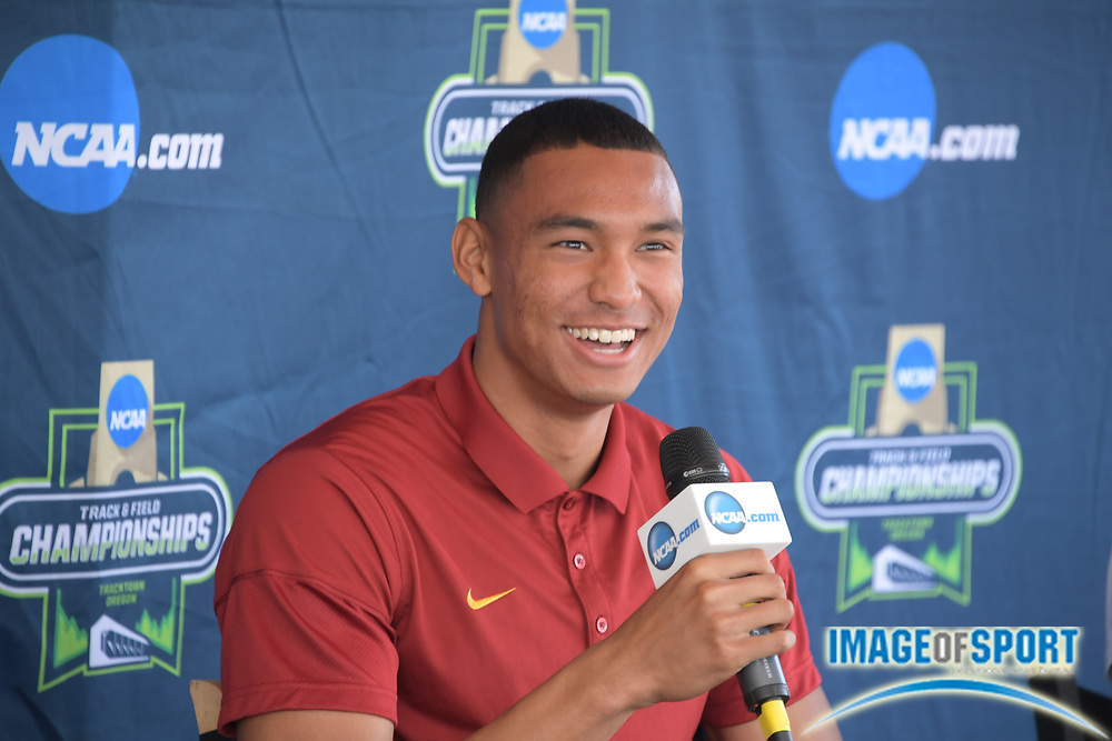 Michael Norman of Southern California during a press conference prior to the NCAA Track and Field championships in Eugene, Ore., Tuesday, June 5, 2018.