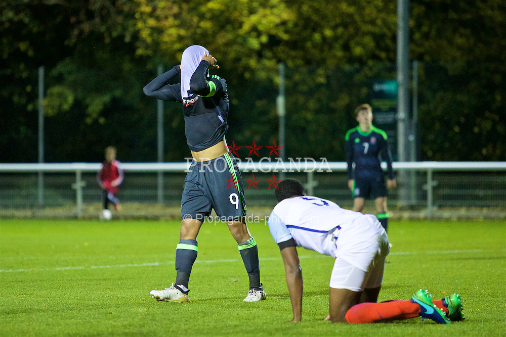 BANGOR, WALES - Saturday, November 12, 2016: Wales' captain Tyler Roberts looks dejected after missing a chance against England during the UEFA European Under-19 Championship Qualifying Round Group 6 match at the Nantporth Stadium. (Pic by Gavin Trafford/Propaganda)