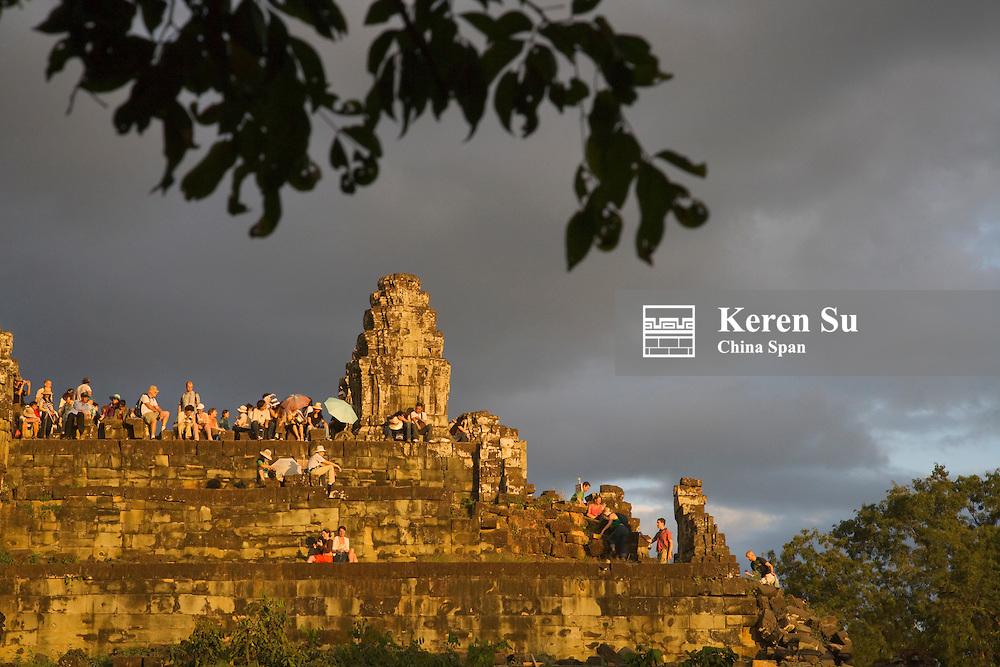 Ruins on Bakheng Hill at sunset, UNESCO World Heritage site.