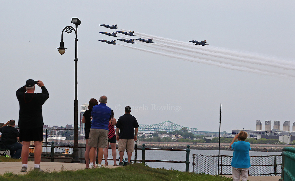 (Boston, MA - 5/26/15) The Blue Angels fly in formation by Castle Island, Tuesday, May 26, 2015. Staff photo by Angela Rowlings.