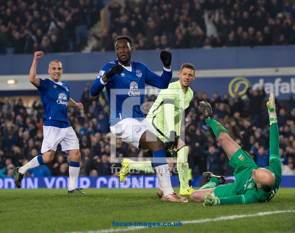 Romelu Lukaku of Everton celebrates after scoring his team's 2nd goal to make it 2-1 during the Capital One Cup semi-final match at Goodison Park, Liverpool<br /> Picture by Russell Hart/Focus Images Ltd 07791 688 420<br /> 06/01/2016