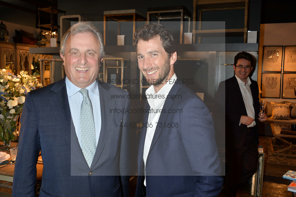 Left to right, VISCOUNT ASTOR and his son The HON.WILL ASTOR at a party to celebrate the publication of 'Feeding The Future' by Lohralee Astor and Tali Shine held at OKA, 155-167 Fulham Road, London on 8th June 2016.