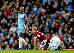 Fernandinho of Manchester City reacts after fouling Johann Gudmundsson of Burnley which resulted in a straight red card - Mandatory by-line: Matt McNulty/JMP - 02/01/2017 - FOOTBALL - Etihad Stadium - Manchester, England - Manchester City v Burnley - Premier League