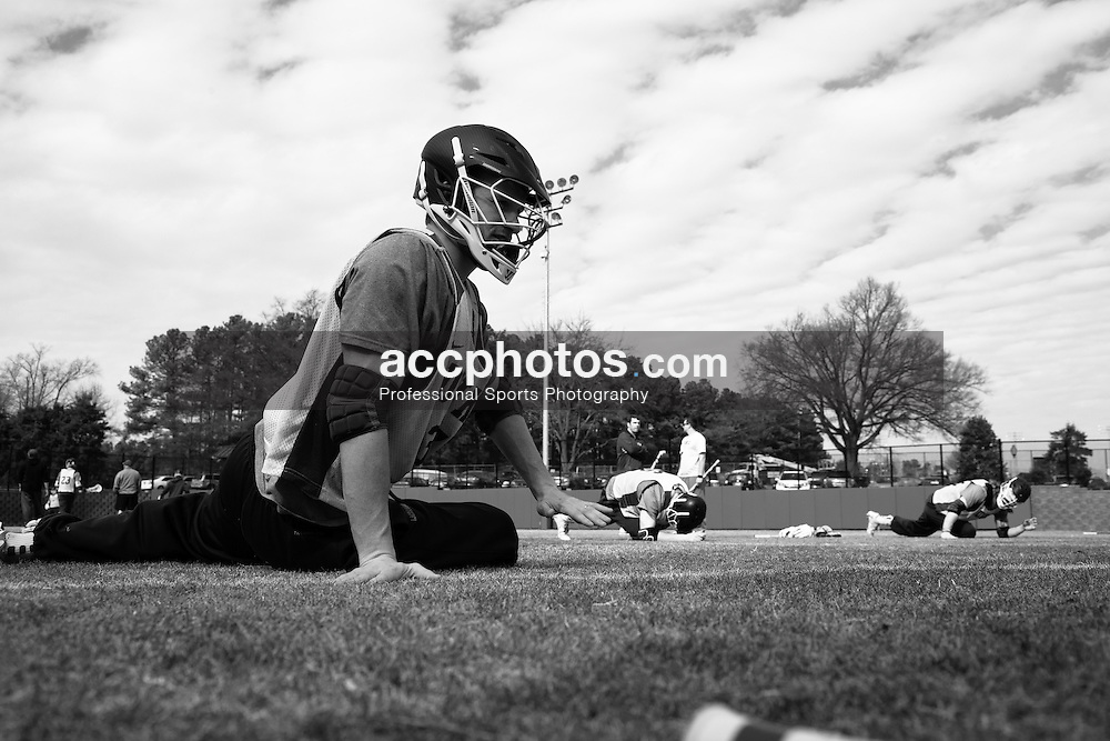 DURHAM, NC - FEBRUARY 07: Casey Carroll #37 of the Duke Blue Devils during practice in Durham, North Carolina.
