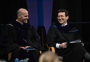 Washington State Attorney General Robert Ferguson (right) delivered the keynote address at the Law School Commencement. (Gonzaga photo)